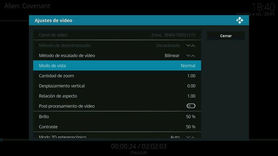 ajustes vídeo kodi