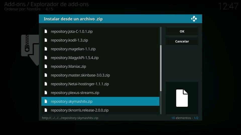 instalacion skymashitv repository
