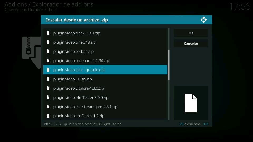 Instalación addon cxtv en kodi