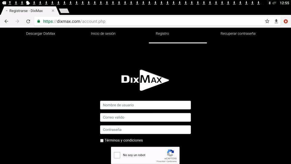 registro dixmax web