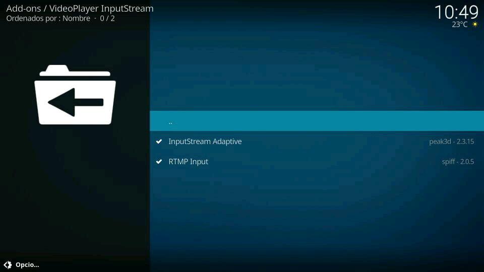 instalar activar inputstream