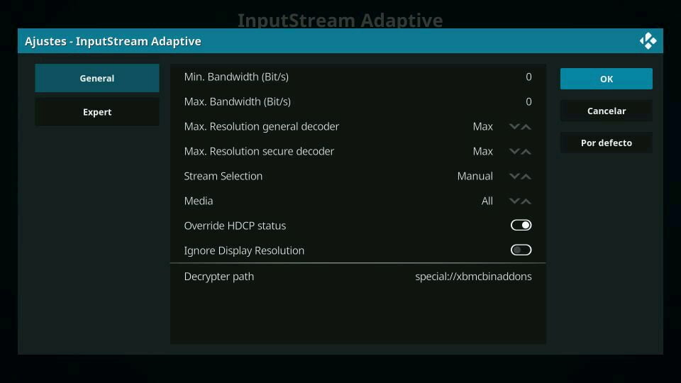 kodi inputstream adaptive configurar