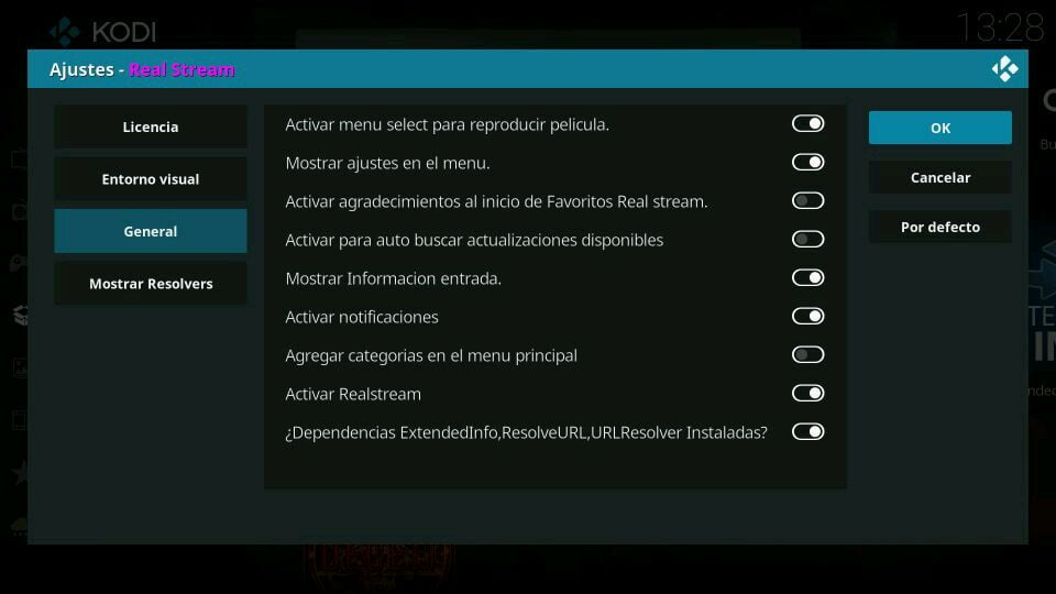 Configuración real stream ajustes kodi