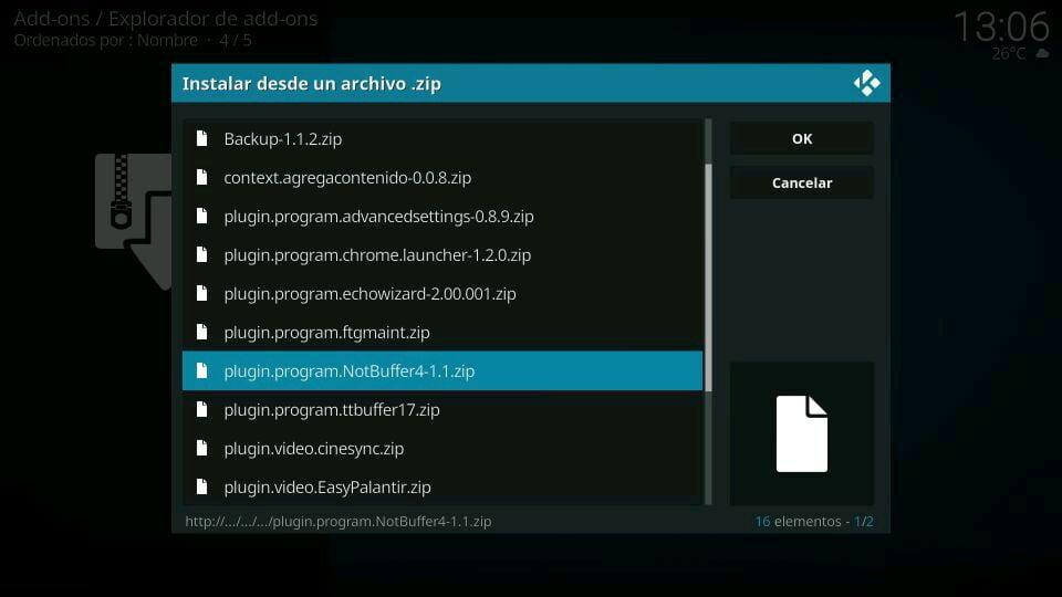 Instalar el Programa NotBuffer 4 en Kodi