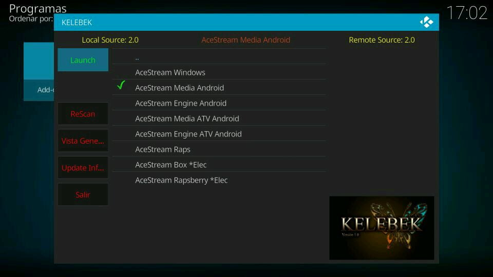 kelebek acestream raspberry windows android