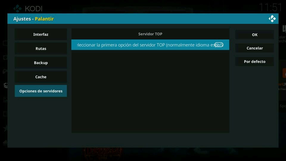 palantir ajustes opciones de servidores