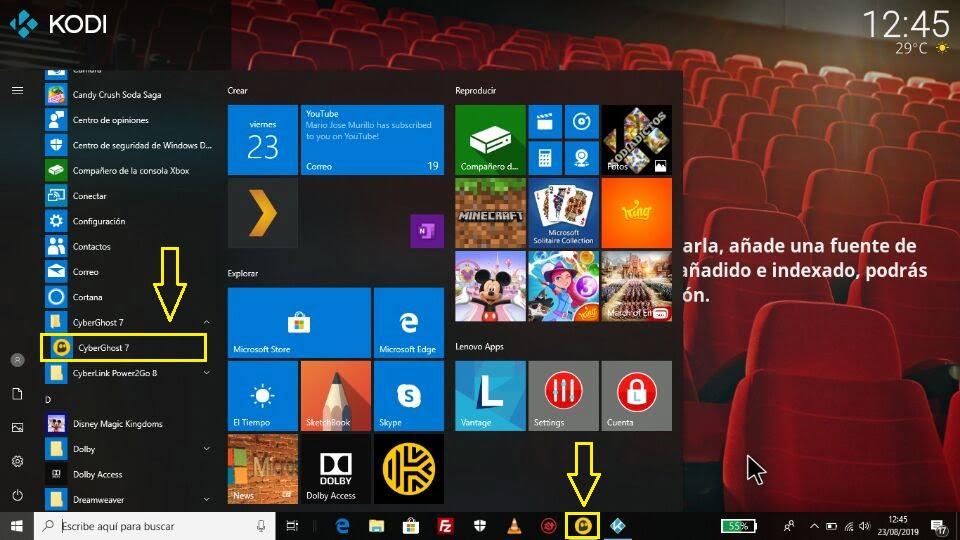 CyberGhost Windows Kodi menú