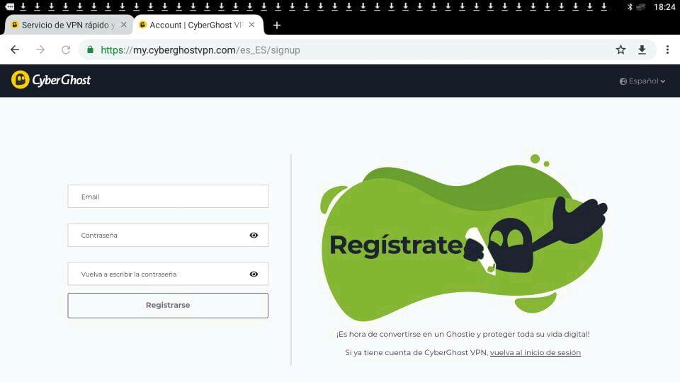 CyberGhost VPN crear cuenta