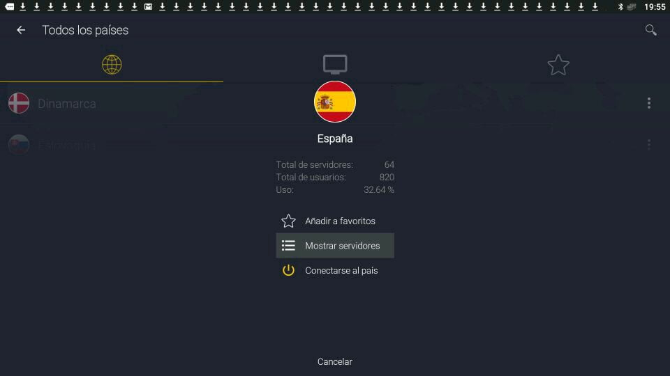 CyberGhost VPN elegir servidores ubicación en android
