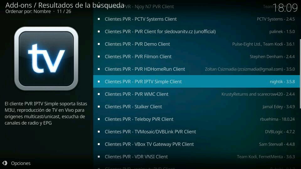 descargar pvr simple client en kodi