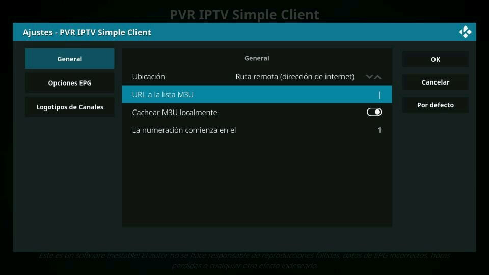 Lista remota local PVR IPTV Simple Client