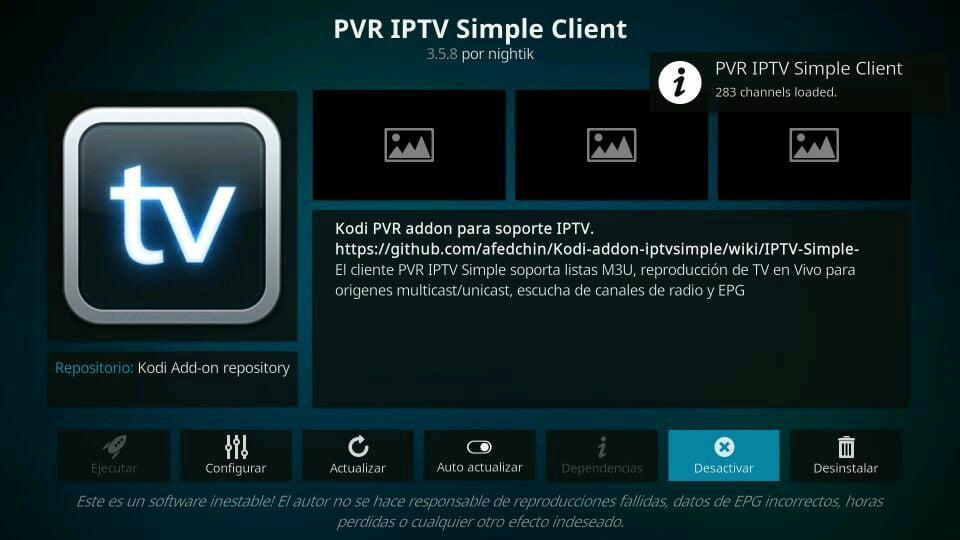 Activar Desactivar PVR IPTV Simple Client