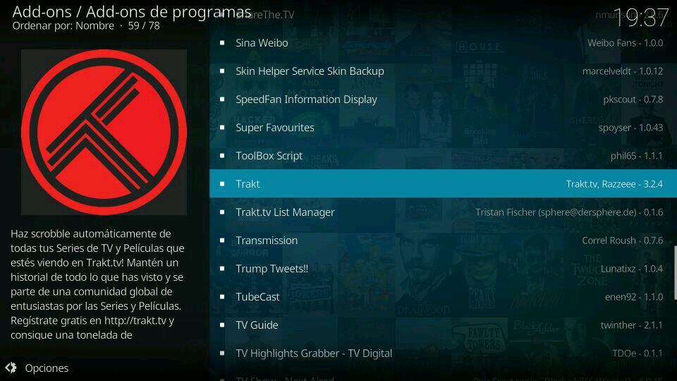 Instalación script Trakt tv en kodi