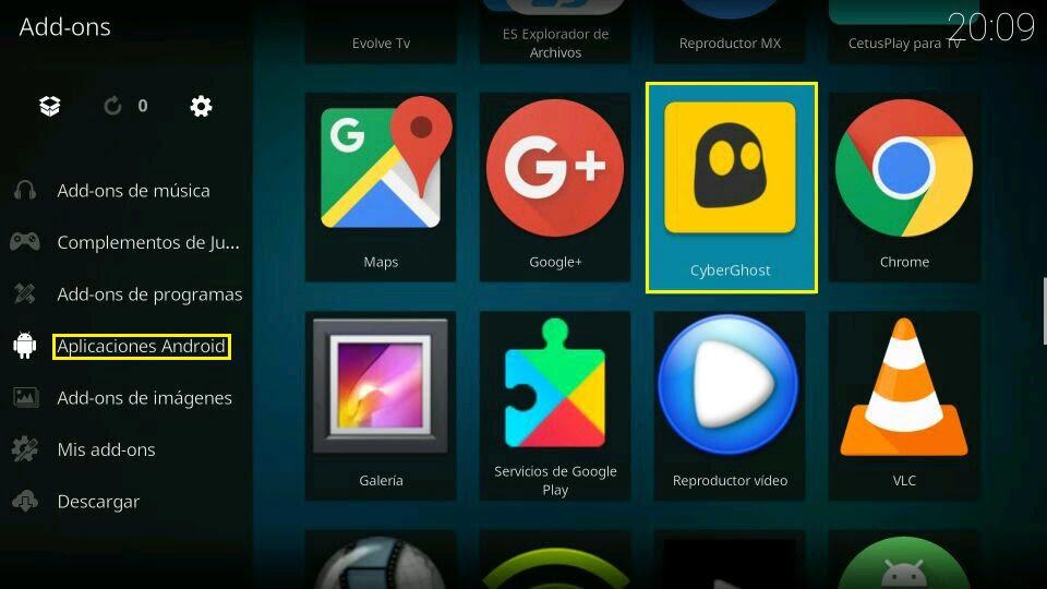 Menú estuary Kodi 18 aplicaciones android
