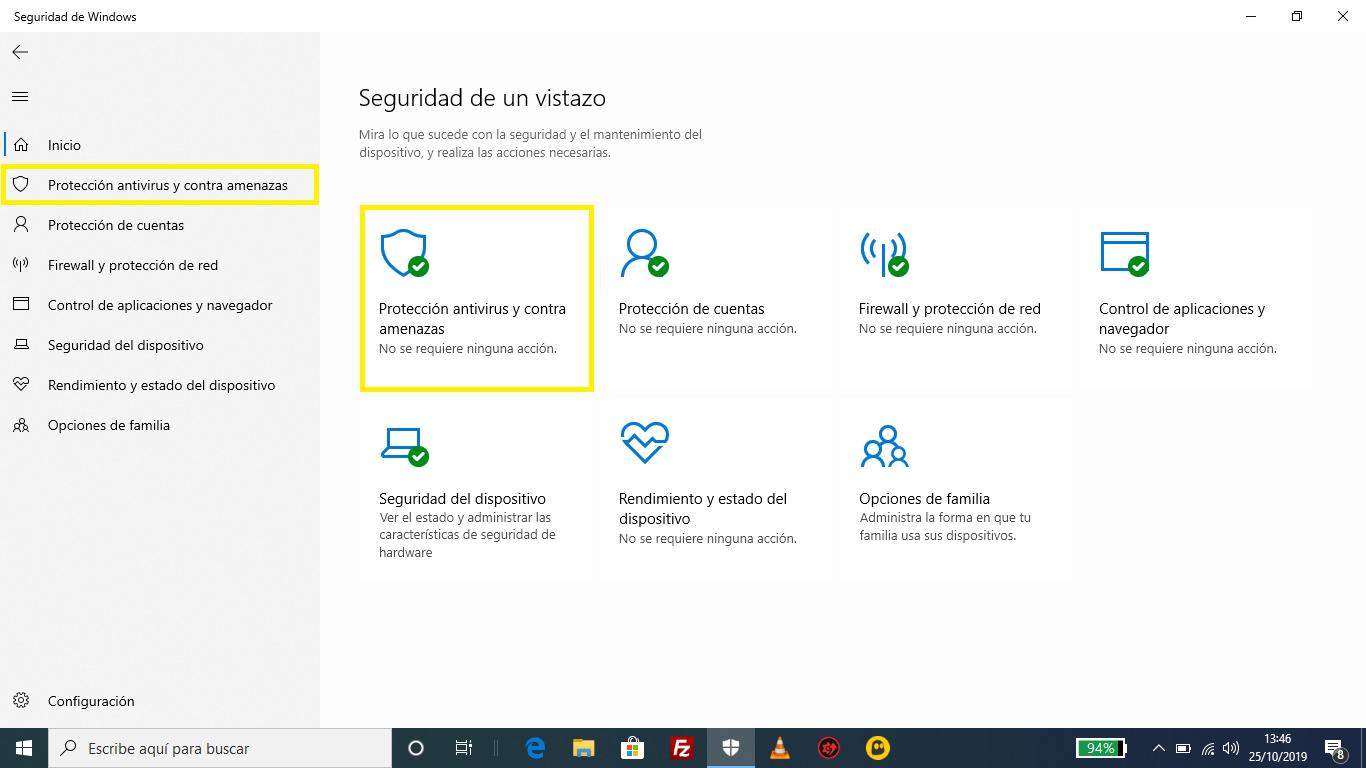 Windows Defender protección antivirus y contra amenazas