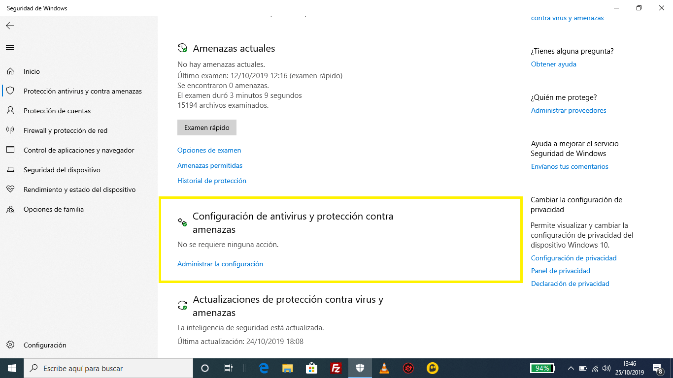 Windows Defender Configuración de antivirus y protección contra amenazas
