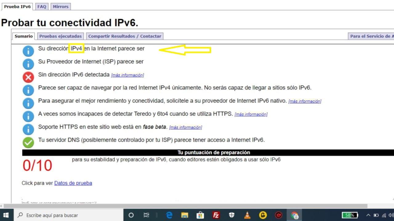 Mi internet es IPv4 o IPv6