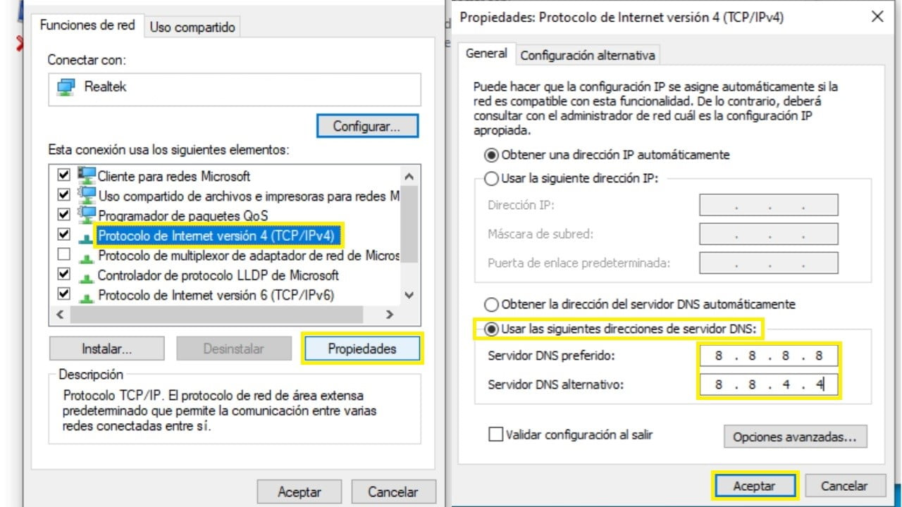 windows cambiar manualmente las dns