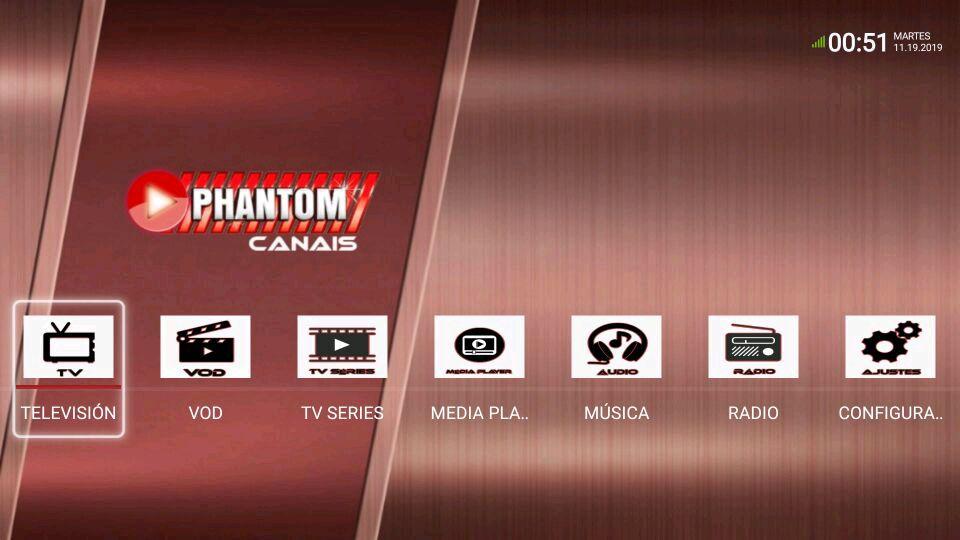 Phantom Canais menú