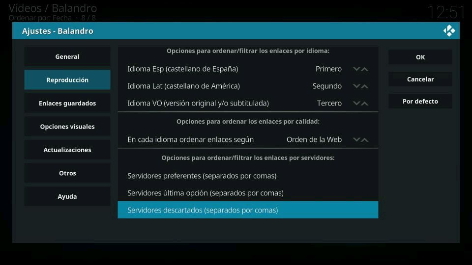 Balandro filtrar por idioma servidores