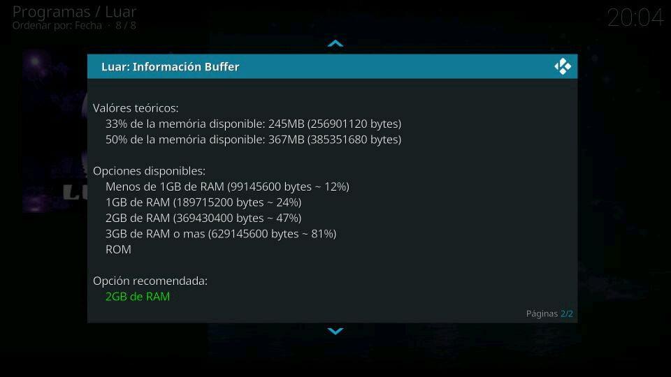 Luar configuración del buffer recomendada