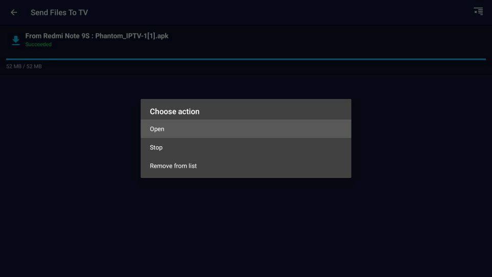 Send Files to TV open instalar aplicaciones android