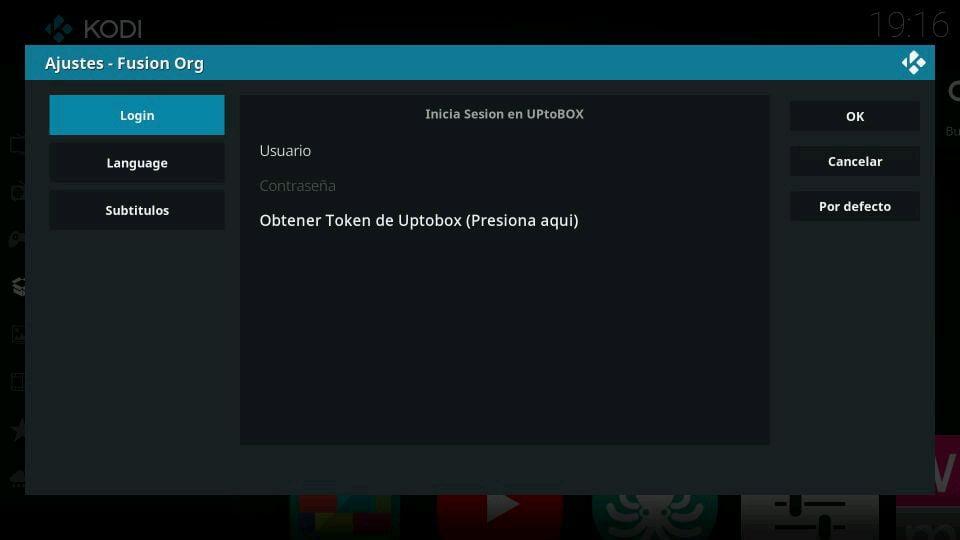 Ajustes Fusion Org login UPtoBOX