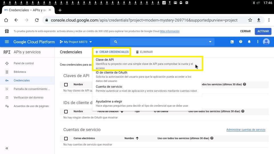 Youtube google + crear credenciales clave API