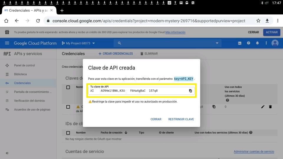 Youtube clave api creada
