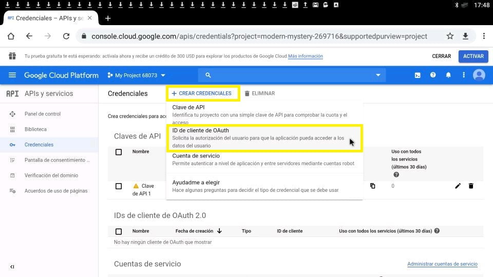 Youtube ID de cliente de OAuth