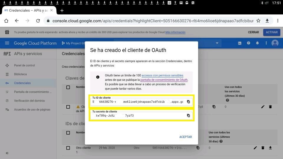 Youtube ID de cliente y clave secreta