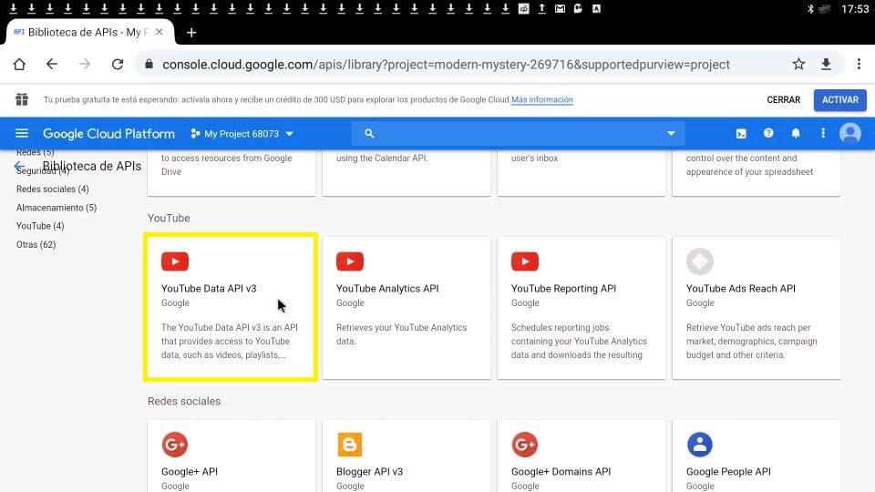 YouTube Data API v3 Google