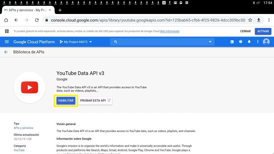 Youtube API habilitar