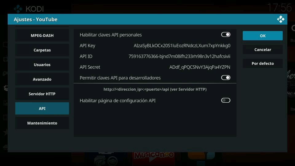 Kodi Addon Youtube API