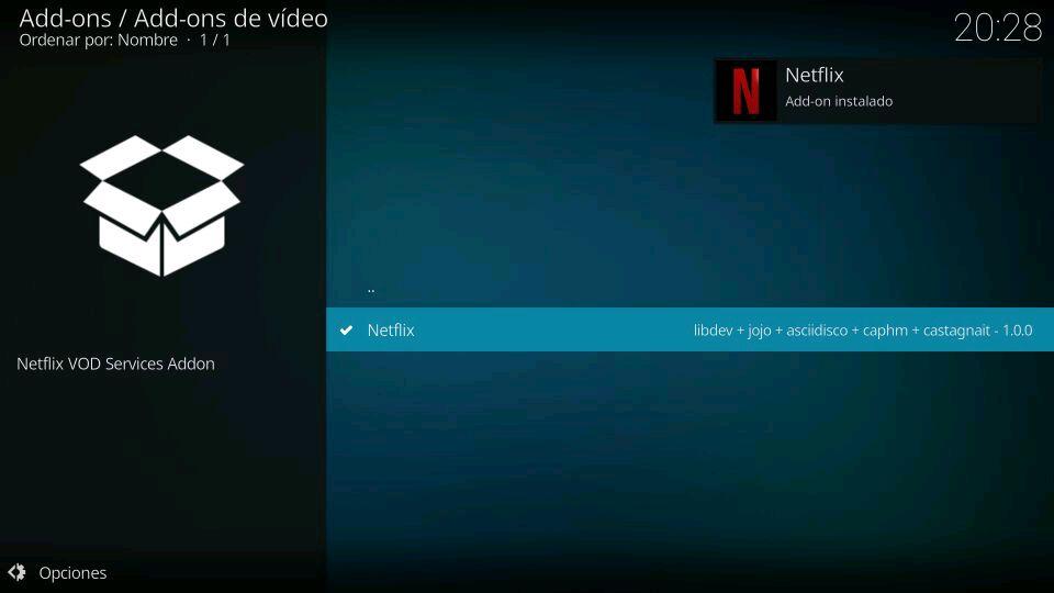 Instalar el addon Netflix en Kodi