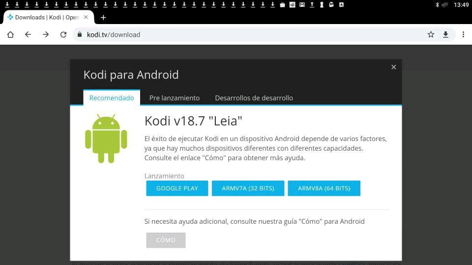 Descargar Kodi en android en la página de web de Kodi