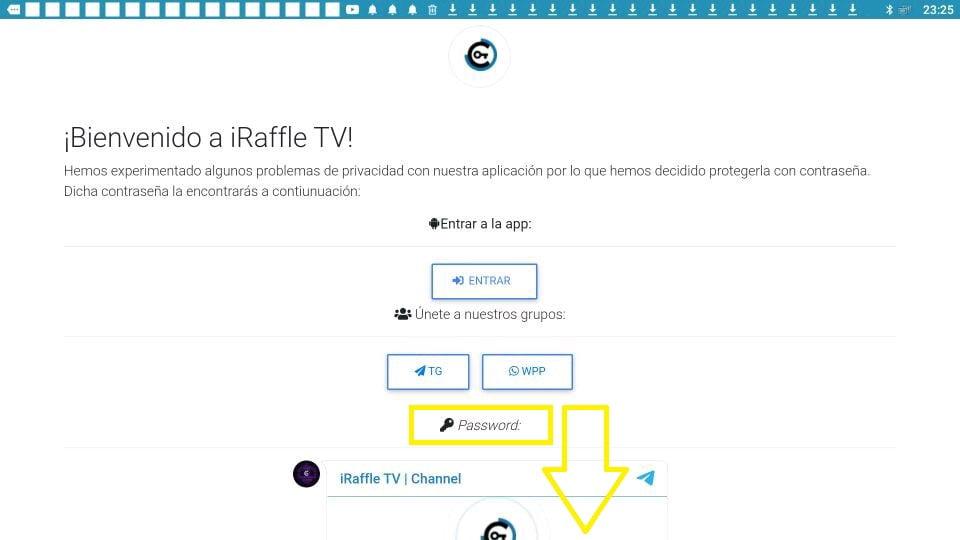 Contraseña iRaffle TV